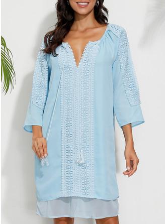Print Shift Long Sleeves Mini Boho Casual Vacation Tunic Dresses