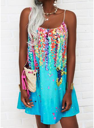 Animal Print Print Shift Sleeveless Mini Casual Vacation Type Dresses