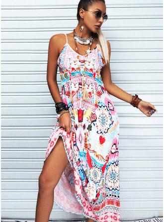 Print A-line Sleeveless Maxi Boho Vacation Skater Type Dresses