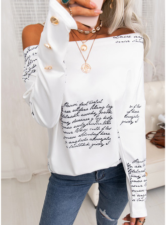 Figure Print One Shoulder Long Sleeves Button Up Casual Blouses