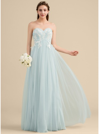 A-Line/Princess Sweetheart Floor-Length Tulle Lace Bridesmaid Dress