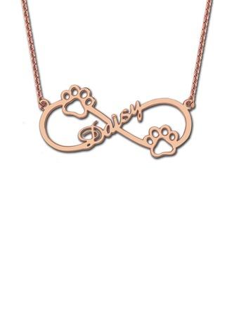 Personalizado Chapado en oro rosa de 18 k infinito Collar con nombre