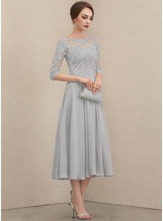 A-Linie U-Ausschnitt Wadenlang Chiffon Spitze Kleid für die Brautmutter mit Perlstickerei Pailletten