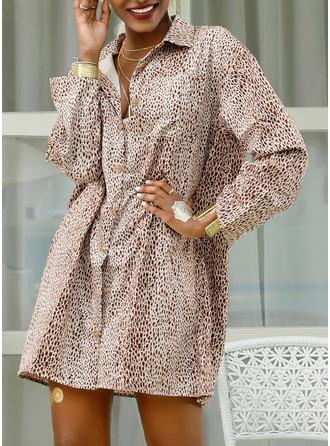 Leopardo Impresión Vestidos sueltos Mangas 3/4 Mini Casual Vacaciones Camisa Vestidos de moda