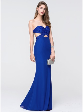 Trumpet/Mermaid Sweetheart Floor-Length Chiffon Prom Dress With Beading Sequins