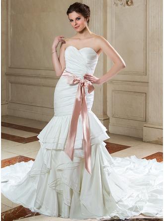 Trumpet/Mermaid Sweetheart Cathedral Train Taffeta Wedding Dress With Sash Bow(s) Cascading Ruffles