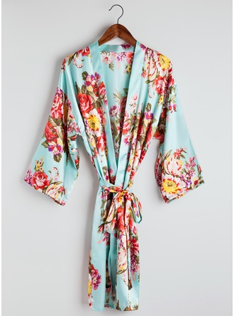 Bride Bridesmaid charmeuse With Tea-Length Floral Robes
