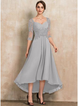 A-Linie Schatz Asymmetrisch Chiffon Spitze Kleid für die Brautmutter mit Perlstickerei Pailletten