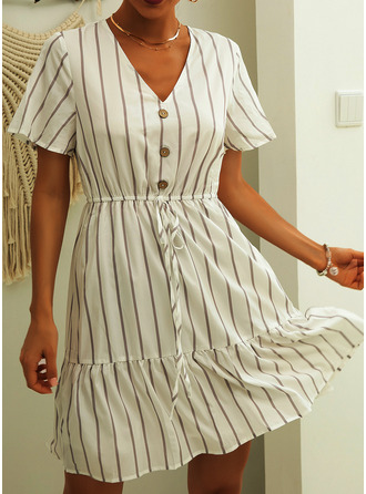 Striped A-line Short Sleeves Mini Casual Skater Dresses