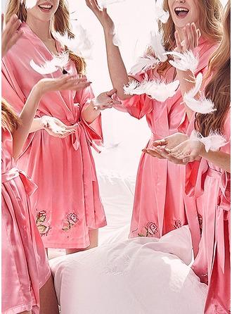 Polyester Bride Bridesmaid Mom Floral Robes