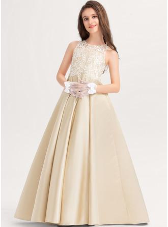 プリンセスライン スクープネック マキシレングス サテン レース ジュニアブライドメイドドレス
