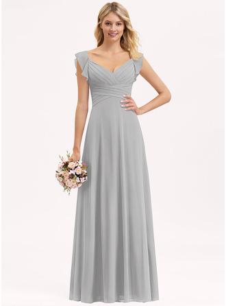 С завышенной талией V-образный Длина до пола шифон Платье Подружки Невесты с Ниспадающие оборки