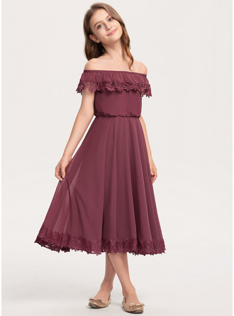 A-Linie Off-the-Schulter Wadenlang Chiffon Spitze Kleid für junge Brautjungfern
