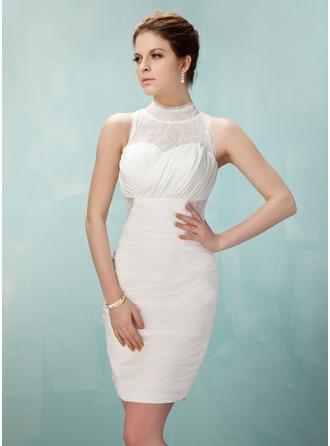 Sheath/Column High Neck Short/Mini Chiffon Lace Cocktail Dress With Ruffle