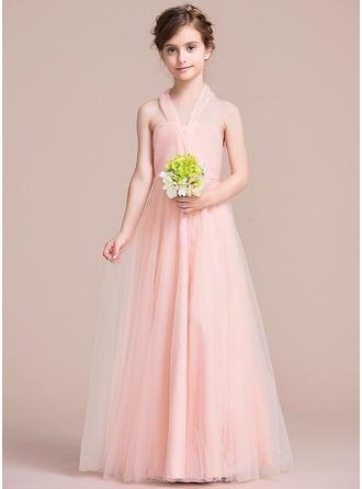 A-Line/Princess Halter Floor-Length Tulle Junior Bridesmaid Dress With Ruffle