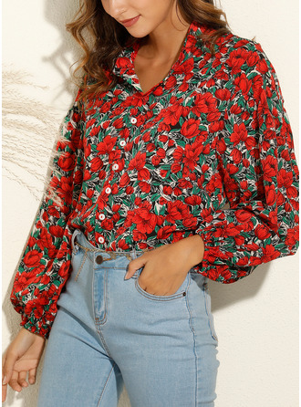 Floral Print Lapel Long Sleeves Casual Shirt Blouses
