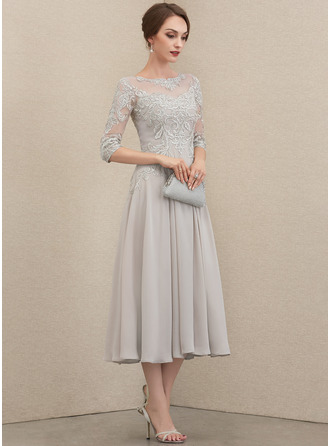A-Line Scoop Neck Tea-Length Chiffon Lace Lace Cocktail Dress With Beading Sequins