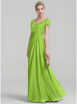 A-Linie/Princess-Linie V-Ausschnitt Bodenlang Chiffon Spitze Kleid für die Brautmutter mit Rüschen Perlstickerei