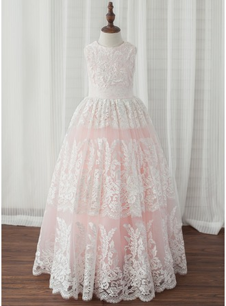 A-Line/Princess Ankle-length Flower Girl Dress - Tulle/Lace Sleeveless Scoop Neck With Pleated