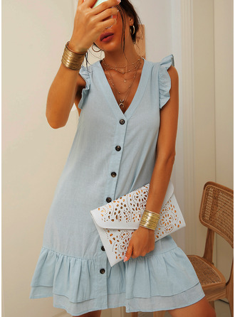 Above Knee V neck Polyester Button/Ruffles/Solid Sleeveless Fashion Dresses