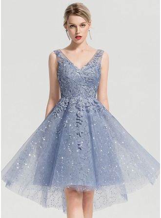 A-Line/Princess V-neck Asymmetrical Tulle Homecoming Dress With Sequins