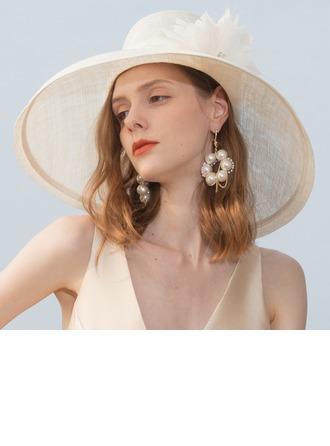 Ladies' Classic/Elegant/Simple/Vintage/Artistic Cambric With Feather/Rhinestone Beach/Sun Hats