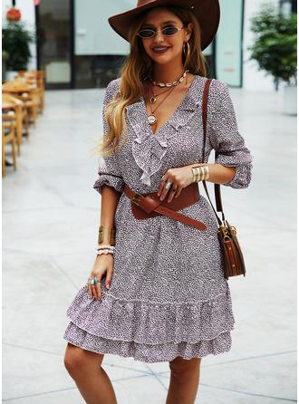 Nadruk Sukienka Trapezowa Długie rękawy Mini Nieformalny Łyżwiaż Modne Suknie