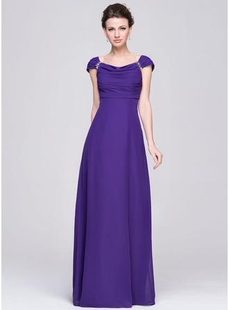 Empire-Linie Wasserfallausschnitt Bodenlang Chiffon Kleid für die Brautmutter mit Rüschen Perlstickerei Pailletten