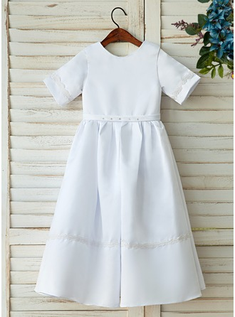 A-Line/Princess Floor-length Flower Girl Dress - Satin/Lace Sleeveless Scoop Neck With Appliques