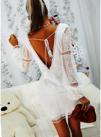 Lace Solid V-Neck Long Sleeves Midi Dresses