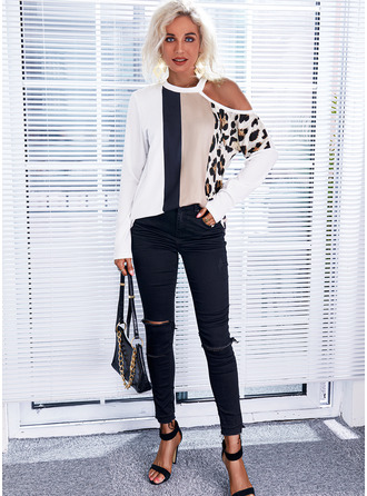Leopard Color Block Print One Shoulder Long Sleeves Casual