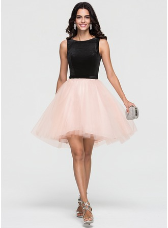 A-Line/Princess Scoop Neck Asymmetrical Tulle Homecoming Dress