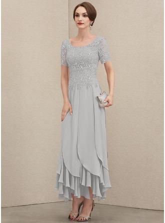 A-Linie U-Ausschnitt Knöchellang Chiffon Spitze Kleid für die Brautmutter mit Gestufte Rüschen