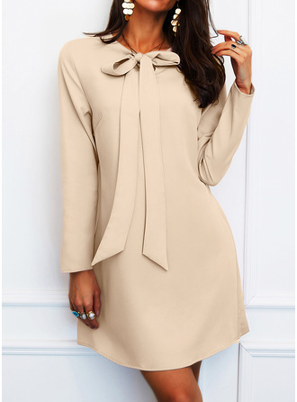 Solid Shiftklänningar Långa ärmar Mini Elegant Tunika Modeklänningar