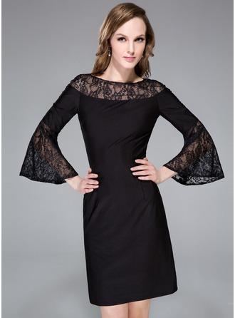 Sheath/Column Scoop Neck Knee-Length Lace Jersey Cocktail Dress