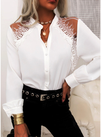 Lace Solid V-Neck Long Sleeves Button Up Elegant Shirt Blouses