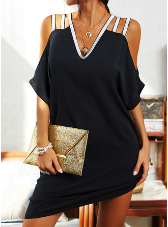 Sequins Solid Shift Cold Shoulder Sleeve Short Sleeves Midi Little Black Casual Tunic Dresses (294253679)