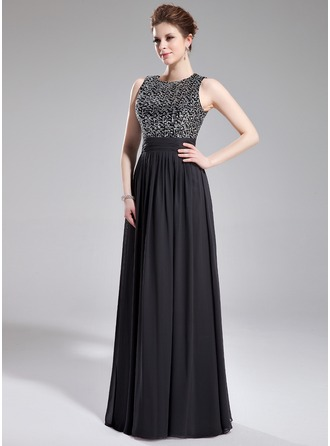 A-Line/Princess Scoop Neck Floor-Length Chiffon Sequined Evening Dress With Ruffle
