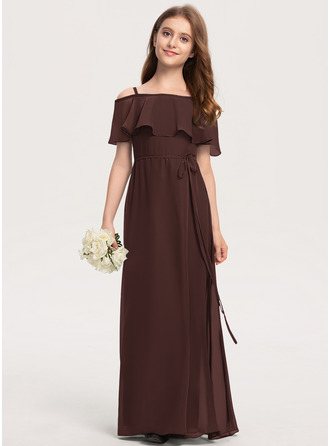 Corte A Off-the-ombro Longos Tecido de seda Vestido de daminha júnior com Curvado