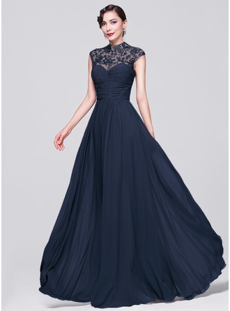 A-Line/Princess High Neck Floor-Length Chiffon Evening Dress With Ruffle Beading Appliques Lace Sequins