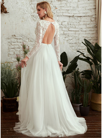 A-Line V-neck Sweep Train Wedding Dress With Beading Sequins