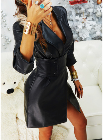 Solid Fodral 3/4 ärmar Mini Elegant Modeklänningar