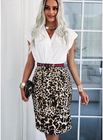 Leopardo Bainha Manga Curta Midi Elegante Vestidos na Moda