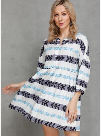 印刷 シフトドレス 3/4袖 ミニ カジュアル チュニック ファッションドレス