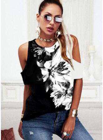 Color Block Floral Print Cold Shoulder Short Sleeves Casual Blouses