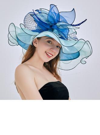 Dames Glamour/Accrocheur/Jolie Organza avec Une fleur Disquettes Chapeau/Chapeaux de plage / soleil/Kentucky Derby Des Chapeaux