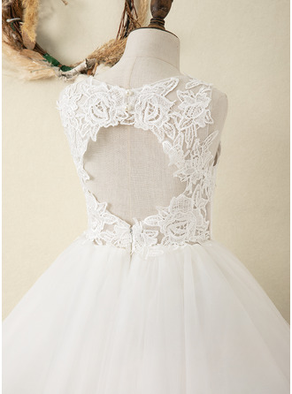 A-Line Knee-length Flower Girl Dress - Satin/Tulle/Lace Sleeveless Scoop Neck With Back Hole