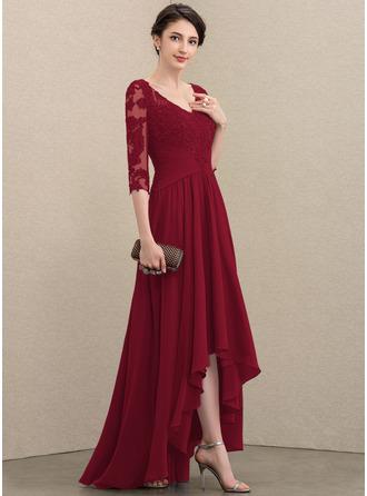 Трапеция V-образный асимметричный шифон Кружева Платье Для Матери Невесты с блестки