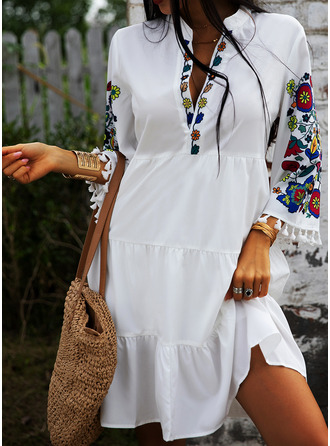 Floral Print Shift 3/4 Sleeves Midi Casual Vacation Tunic Dresses