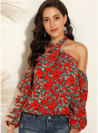 Print Floral Long Sleeves Polyester Cold Shoulder Blouses